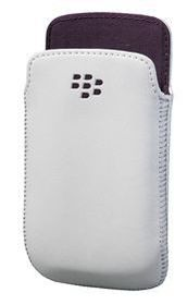 Blackberry 9790 - Premium Leather Pouch - White and Purple