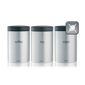 Brabantia - Tea - Coffee and Sugar Canister Set - Matt Steel
