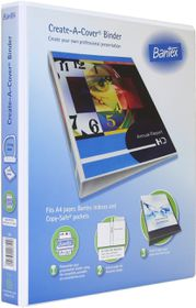 Bantex Create-A-Cover 2 D-Ring A4 25mm Ring Binder - White