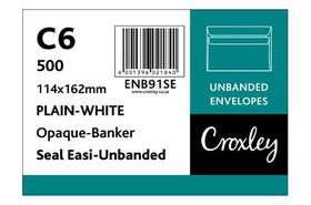 Croxley C6 White Seal Easi Unbanded Envelopes (Box of 500)