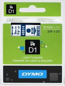 Dymo D1 Tape Cassette - Blue Print on White Tape (9mm x 7m)