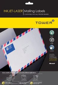 Tower W111 Mailing Inkjet-Laser Labels - Pack of 25 Sheets