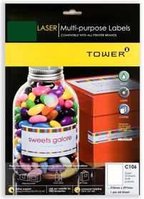 Tower C106 Multi Purpose Inkjet-Laser Labels - Green - Pack of 25 Sheets