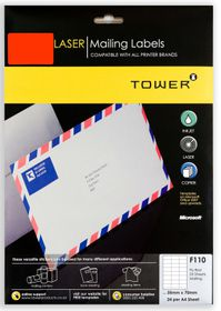 Tower F110 Mailing Inkjet-Laser Labels - Fluorescent Red - Pack of 25 Sheets
