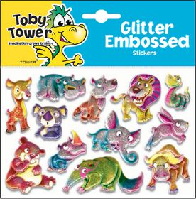 Toby Tower Glitter Embossed Stickers - Bear