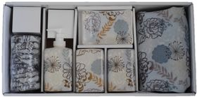 Thornbird - Bath Shower Curtain With Ceramic Set - Autumn Blue Floral