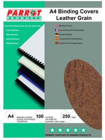 Parrot A4 Leather Grain 250gsm Binding Covers 100s - Black