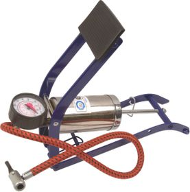 Moto-Quip - Chrome Single Cylinder Footpump & Gauge