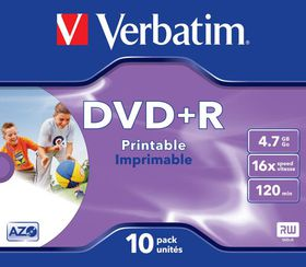 Verbatim DVD+R Printable 16X 4.7GB - Jewel Case (10 Pack)
