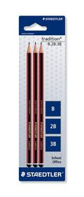 Staedtler Tradition Pencils - B & 2B & 3B - 3 Pack