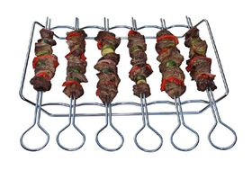 LK's - Kebab Grill - Set of 6 Skewers - Chrome