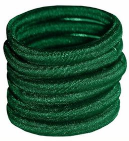 Chic Non-Join Hair Elastic Bands 6 Pack - Bottle Green