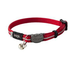 Rogz - Catz Extra-Small AlleyCat Reflective Breakaway Safeloc Buckle Cat Collar - Red