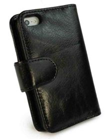 Tuff-Luv Vintage Leather Wallet-Style Cover for iPhone 6/6S Plus - Black