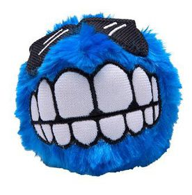 Rogz Fluffy Grinz Large 8cm Dog Plush Squeak Toy - Blue