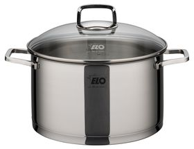 Elo Straightline Stainless Steel Casserole with Glass Lid - 24cm