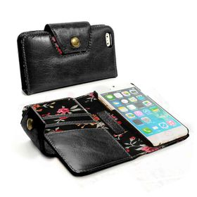 Tuff-Luv Alston Craig London Ladies Vintage Genuine Leather Purse Case Cover for Apple iPhone 6/6S Plus - Black (Secret Garden)
