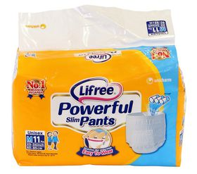 Lifree - Adult Unisex Diaper Pants Size M - 11Pc