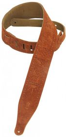 "Levy LLMS17T01CPR MS17T01 2.5"" Suede Leather Guitar Strap Tooled with Zodiac Design - Copper"