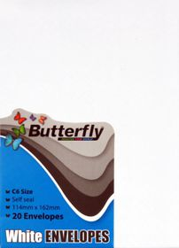 Butterfly C6 Envelopes Self Seal White 20's
