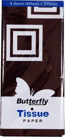Butterfly Tissue Paper 4 Sheets - Black (T28)