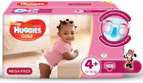 Huggies - Gold Girl - Size 4+  - 108 Nappies Mega Box (10-16kg)