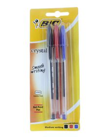BIC Crystal Medium Xtra Life Ballpoint Pens - Assorted (Blister of 3)