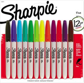 Sharpie 12 Fine Point Permanent Markers - Assorted
