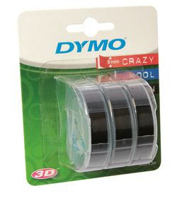 Dymo Embossing Tape 9mm x 3m Black (Blister of 3)
