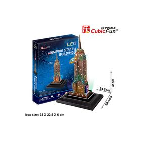 Cubic Fun Empire State Building USA - 38 Piece 3D Puzzle with Base & LED Unit