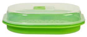 Progressive Kitchenware - Microwave Fish and Vegetable Steamer - 280 mm x 240 mm x 80 mm - Transparent