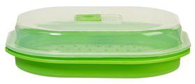Progressive Microwave Fish & Vegetable Steamer - (280mm x  240mm x 80mm) Transparent