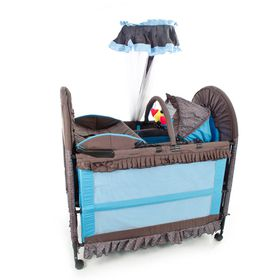Chelino - 6-in-1 Cot - Brown and Blue
