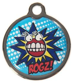 Rogz ID Tagz Large 31mm Metal Tag - Comic Design