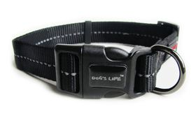 Dog's Life - Reflective Supersoft Webbing Collar - Black - Extra-Large