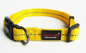 Dog's Life - Reflective Supersoft Webbing Collar - Yellow - Medium