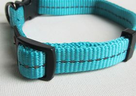 Dog's Life - Reflective Supersoft Webbing Collar - Turquoise - Large