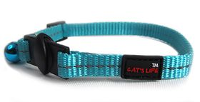 Cat's Life - Reflective Supersoft Webbing Cat Collar - Turquoise