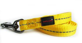 Dog's Life - Reflective Supersoft Webbing Leash - Yellow - Small
