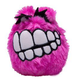 Rogz Fluffy Grinz Large 8cm Dog Plush Squeak Toy - Pink