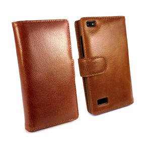 Tuff-Luv Vintage Genuine Leather Wallet Case Cover (incl Screen Protector) for Blackberry Leap - Brown