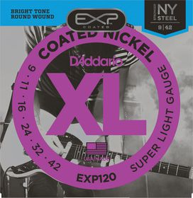 D'Addario EXP120 Coated Nickel Wound Super Lights Electric Guitar Strings - 9-42