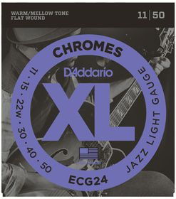 D'Addario ECG24 Chromes Flat Wound Jazz Light Electric Guitar Strings - 11-50