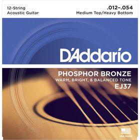 D'Addario EJ37 Phosphor Bronze Medium Top/Heavy Bottom 12-String Acoustic Guitar Strings - 12-54