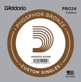 D'Addario PB024 Phosphor Bronze Wound Single Acoustic Guitar Single String - .024