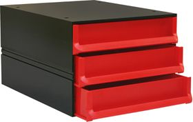 Bantex Texo Modular 3 Drawer Storage System - Red