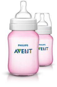 Avent - Pink Classic Plus - Feeding Bottles - 260ml - Twin