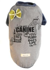 Dog's Life - Canine Waggy Tail Tee with Bow Grey - Small