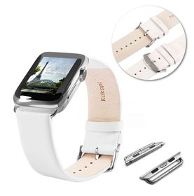 Tuff-Luv Genuine Leather Wrist Watch Strap Band and Connector for Apple Watch Strap 42mm - White