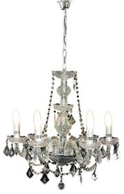 Bright Star 6 Light Crystal Chandelier - Silver
